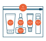 Liquids in carry-on baggage. Airport rules. Vector icons Stock Images