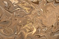 Liquify Abstract Pattern With Brown, White And Grey Graphics Color Art Form. Digital Background With Liquifying Flow.  stock illustration