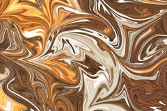 Liquify Abstract Pattern With Brown, White And Yellow Graphics Color Art Form. Digital Background With Liquifying Flow.  vector illustration
