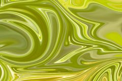 Liquify Abstract Pattern With Green, Lemon, Lime And Yellow Graphics Color Art Form. Digital Background With Liquifying Flow.  royalty free illustration