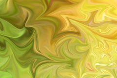 Liquify Abstract Pattern With Green And Yellow Graphics Color Art Form. Digital Background With Liquifying Flow.  vector illustration