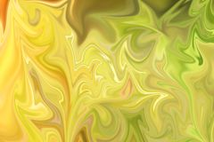 Liquify Abstract Pattern With Green And Yellow Graphics Color Art Form. Digital Background With Liquifying Flow.  stock illustration