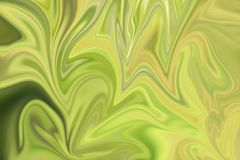 Liquify Abstract Pattern With Green And Yellow Graphics Color Art Form. Digital Background With Liquifying Flow. Liquify Abstract Pattern With Green And Yellow stock illustration