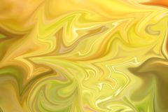 Liquify Abstract Pattern With Green And Yellow Graphics Color Art Form. Digital Background With Liquifying Flow. Liquify Abstract Pattern With Green And Yellow royalty free illustration