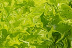 Liquify Abstract Pattern With Lime, Chartreuse, Green And Yellow Graphics Color Art Form. Digital Background With Liquifying Flow.  stock illustration
