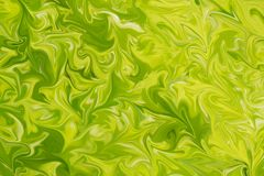 Liquify Abstract Pattern With Lime, Chartreuse, Green And Yellow Graphics Color Art Form. Digital Background With Liquifying Flow.  royalty free illustration