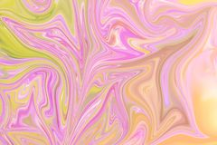 Liquify Abstract Pattern With Pink, Yellow And Green Graphics Color Art Form. Digital Background With Liquifying Flow.  vector illustration