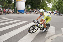 Liquigas team rider. During the time trial of Milan, Giro d'Italia 2012 Royalty Free Stock Photo