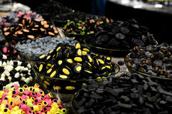 Liquirice candies on a market stall Royalty Free Stock Images