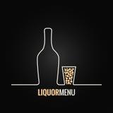 Liquor bottle glass shot design background Royalty Free Stock Images