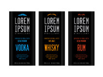 Liquor bottle label designs. For vodka, whisky whiskey and rum Stock Photo