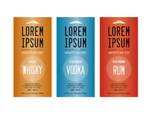 Liquor bottle label designs. For vodka, whisky whiskey and rum Stock Images