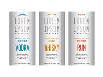 Liquor bottle label designs. For vodka, whisky whiskey and rum Royalty Free Stock Photo