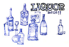 Liquor bottles illustration Stock Image