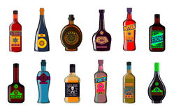 Liquor bottles set: alcoholic beverages whiskey  illustration Stock Photo