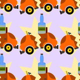 Liquor and car crash seamless background design Stock Image
