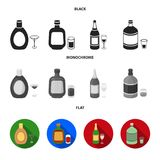 Liquor chocolate, champagne, absinthe, herbal liqueur.Alcohol set collection icons in black, flat, monochrome style. Vector symbol stock illustration Royalty Free Stock Image