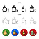 Liquor chocolate, champagne, absinthe, herbal liqueur.Alcohol set collection icons in black,flat,outline style vector. Symbol stock illustration Royalty Free Stock Photography