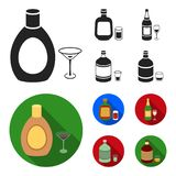 Liquor chocolate, champagne, absinthe, herbal liqueur.Alcohol set collection icons in black, flat style vector symbol. Stock illustration Royalty Free Stock Images
