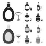 Liquor chocolate, champagne, absinthe, herbal liqueur.Alcohol set collection icons in black,monochrome style vector. Symbol stock illustration Royalty Free Stock Photo