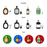 Liquor chocolate, champagne, absinthe, herbal liqueur.Alcohol set collection icons in cartoon,black,flat style vector. Symbol stock illustration Stock Illustration