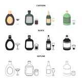 Liquor chocolate, champagne, absinthe, herbal liqueur.Alcohol set collection icons in cartoon,black,outline style vector. Symbol stock illustration Vector Illustration