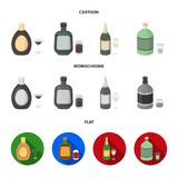 Liquor chocolate, champagne, absinthe, herbal liqueur.Alcohol set collection icons in cartoon,flat,monochrome style. Vector symbol stock illustration royalty free illustration