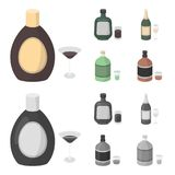 Liquor chocolate, champagne, absinthe, herbal liqueur.Alcohol set collection icons in cartoon,monochrome style vector. Symbol stock illustration Royalty Free Stock Photos