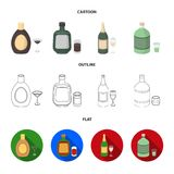Liquor chocolate, champagne, absinthe, herbal liqueur.Alcohol set collection icons in cartoon,outline,flat style vector. Symbol stock illustration Stock Illustration
