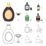 Liquor chocolate, champagne, absinthe, herbal liqueur.Alcohol set collection icons in cartoon,outline style vector. Symbol stock illustration Royalty Free Stock Images