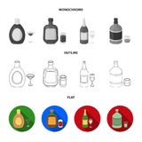 Liquor chocolate, champagne, absinthe, herbal liqueur.Alcohol set collection icons in flat,outline,monochrome style. Vector symbol stock illustration Stock Images