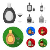 Liquor chocolate, champagne, absinthe, herbal liqueur.Alcohol set collection icons in monochrome,flat style vector. Symbol stock illustration Stock Photos