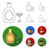 Liquor chocolate, champagne, absinthe, herbal liqueur.Alcohol set collection icons in outline,flat style vector symbol. Stock illustration Royalty Free Stock Photos