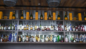 Liquor. Choice and variety of liquor on display at the bar shelves. Photo was taken on 07 August 2013 Stock Images