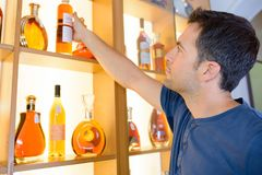 Liquor in fancy containers. Collect Royalty Free Stock Images