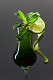 Liquor with lime and peppermint Royalty Free Stock Photo