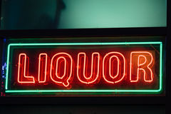 Liquor neon sign. A liquor neon sign on a bar in Atlanta, Georgia Royalty Free Stock Images