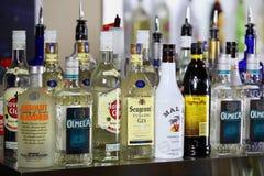 Liquor Shelf In Bar. View of liquor shelf in bar Stock Photography