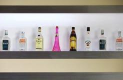 Liquor Shelf In Bar Royalty Free Stock Photo