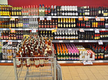 Liquor shop. Caransebes, Romania - November 22, 2013: Liquor department at the supermarket. Shot taken on November 22nd, 2013 Stock Image