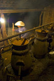 Liquor still. Making mexican agave wine on a copper still in Mexico inside an old mexican hacienda Stock Photo