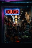 Liquor store sign, in the East Village, Manhattan, New York City.  royalty free stock photos