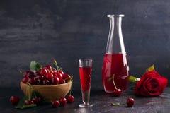 Liquore casalingo della bevanda dell'alcool della ciliegia con le bacche fresche della ciliegia fotografie stock libere da diritti