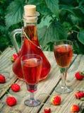 Liquore casalingo della fragola Fotografia Stock Libera da Diritti