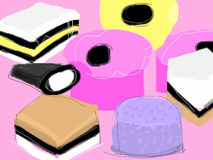 Liquorice Allsorts. Drawing of Liquorice Allsorts isolated on pink background Royalty Free Stock Photo