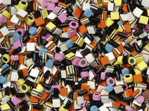 Liquorice allsorts. Colourful liquorice allsorts shot from the top Stock Photography