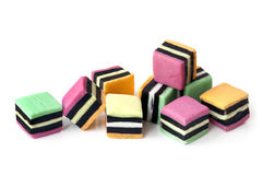 Liquorice Allsorts Isolated on White Stock Image