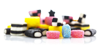Liquorice allsorts isolated on a white Royalty Free Stock Images