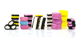 Liquorice allsorts isolated on white Royalty Free Stock Image