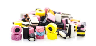 Liquorice allsorts isolated on white Stock Images